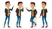 Asian Teen Boy Poses Set Vector. Adult People. Casual. For Advertisement, Greeting, Announcement Design. Isolated Cartoon Illustration