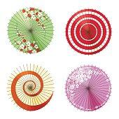 Asian umbrellas set