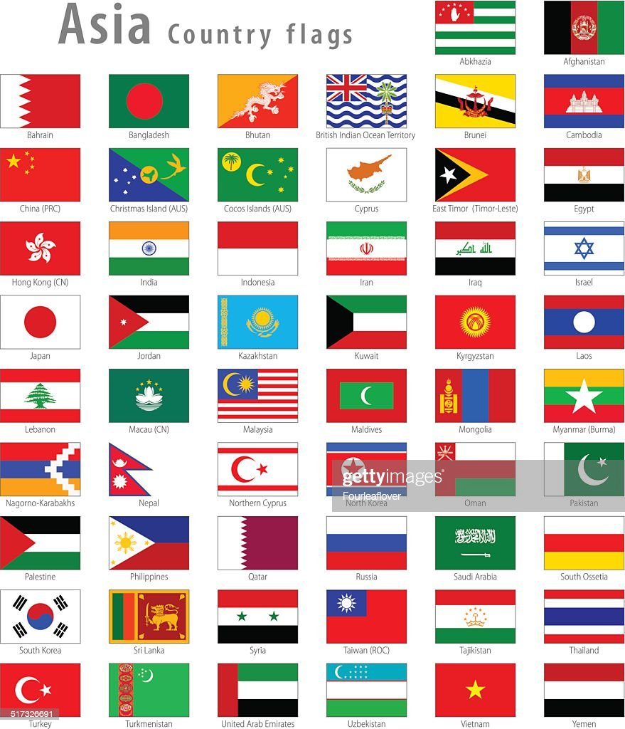 Asian Vector National flags Set