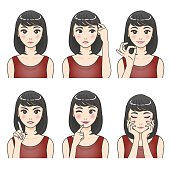 asian woman character set, various pose and expression, cartoon illustration like japanese animation, vector