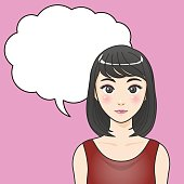 asian woman character with balloon, various pose and expression, cartoon illustration like japanese animation, vector