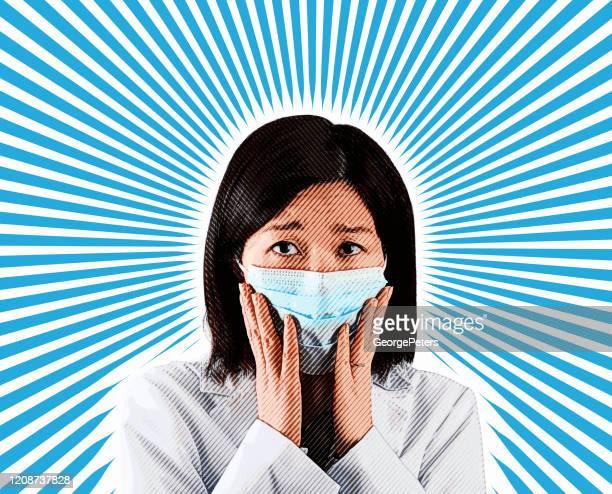 ilustrações, clipart, desenhos animados e ícones de mulher asiática usando máscara facial protetora para evitar vírus - female surgeon mask