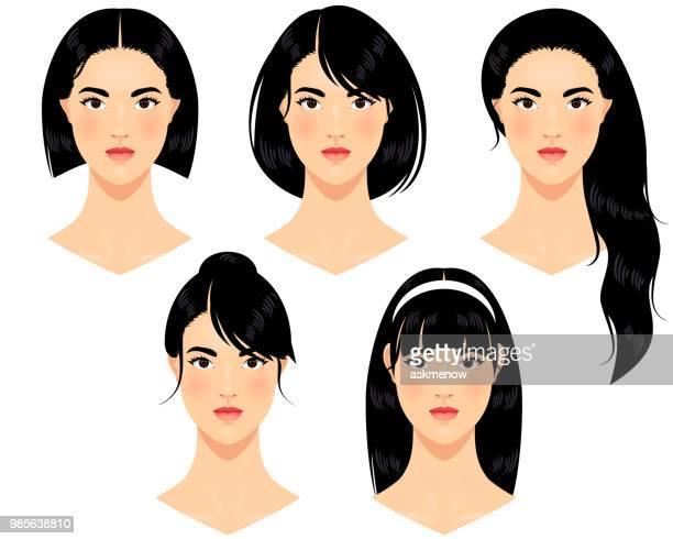 asian women - fringe stock illustrations