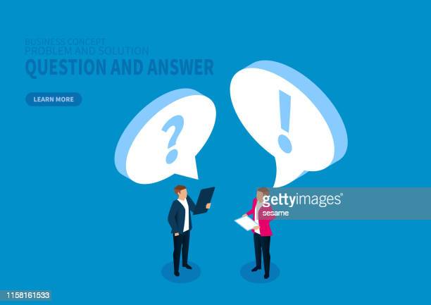 ask and answer, ask questions and solve problems - discussion stock illustrations