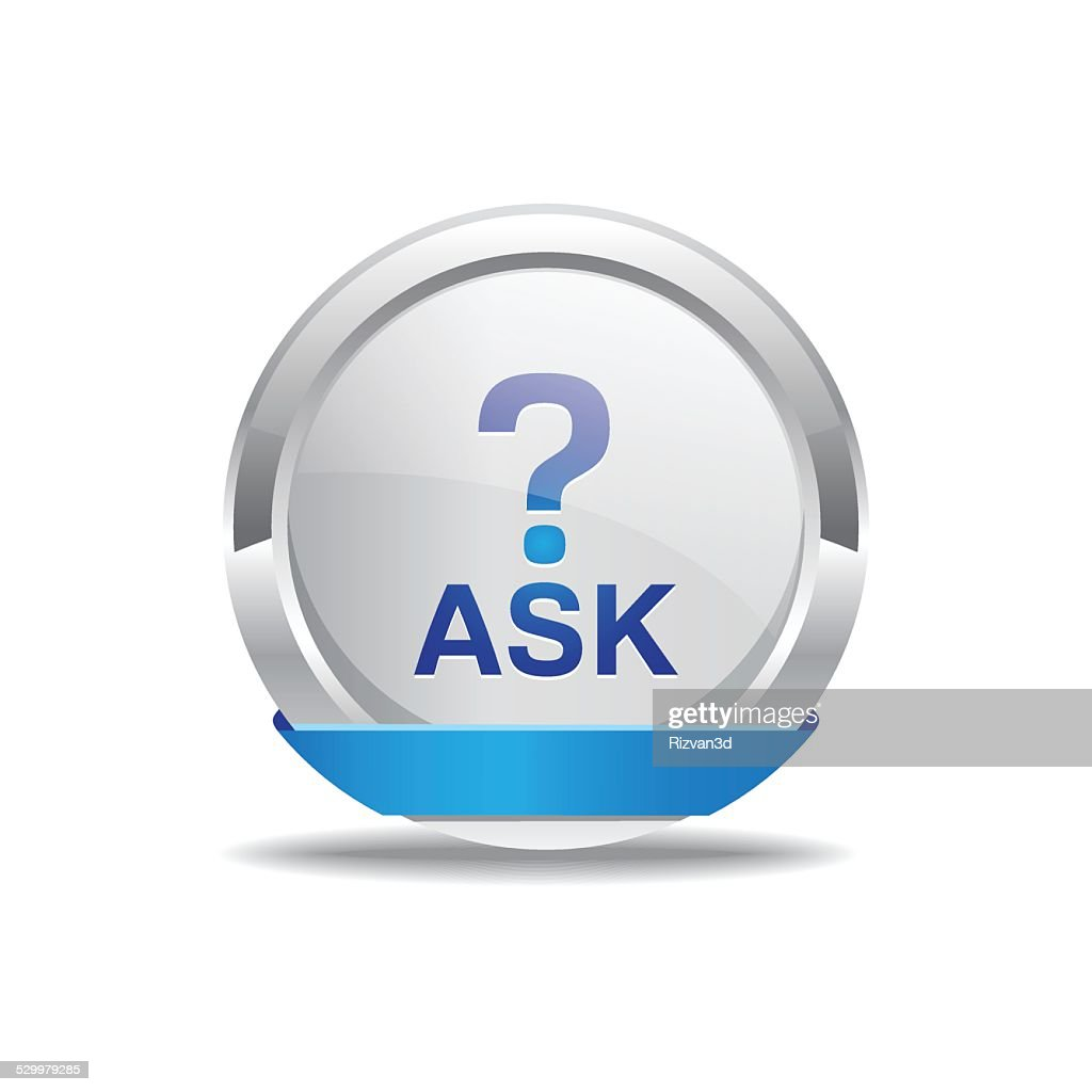 Ask Blue Vector Icon Button
