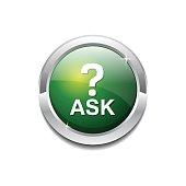 Ask Green Vector Icon Button