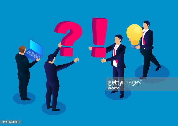 ask questions and solve problems, a group of businessmen raised new issues, another group of businessmen holding a bright light bulb to solve the problem - q and a stock illustrations
