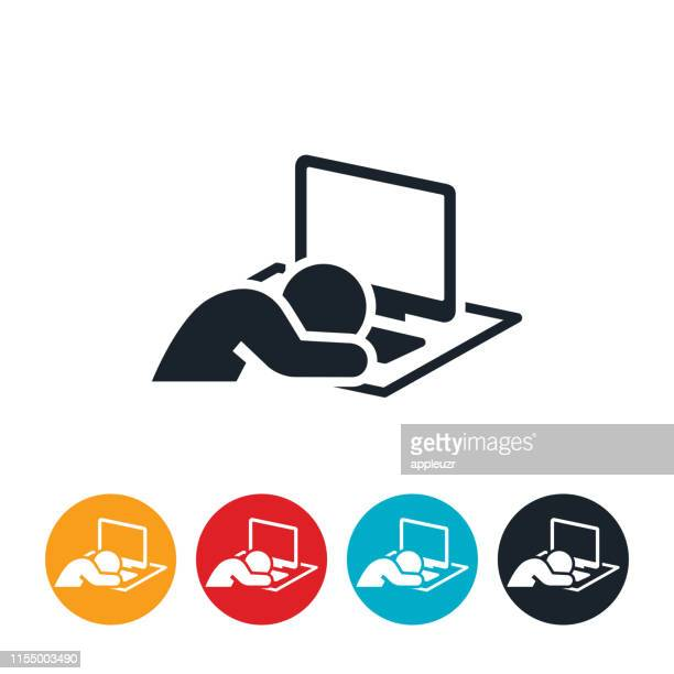 asleep at computer icon - tired stock illustrations