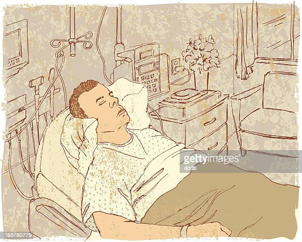 asleep in a hospital room - blanket texture stock illustrations, clip art, cartoons, & icons