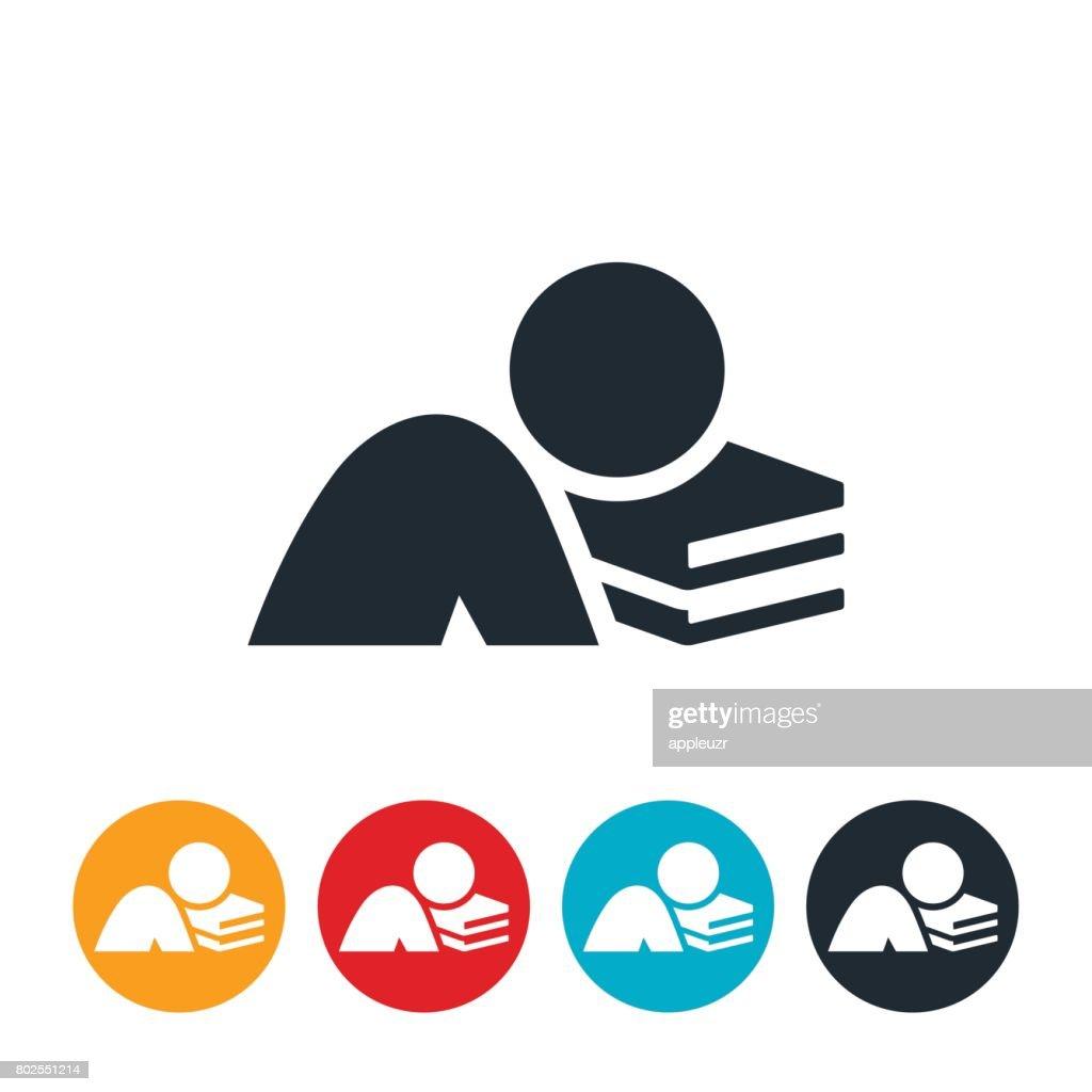 Asleep On books Icon : stock illustration