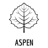 Aspen leaf icon, simple black style
