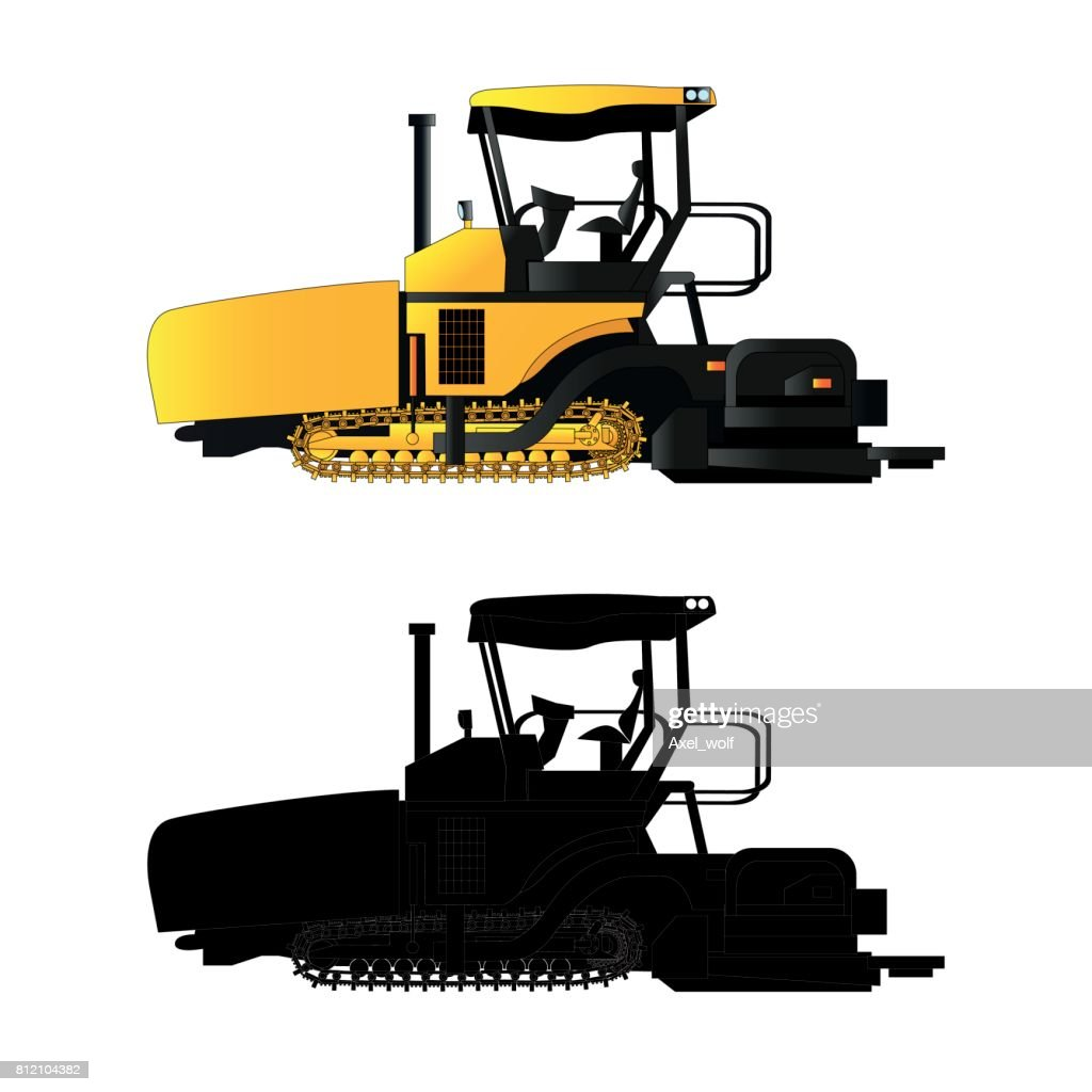 Asphalt paver, vector illustration