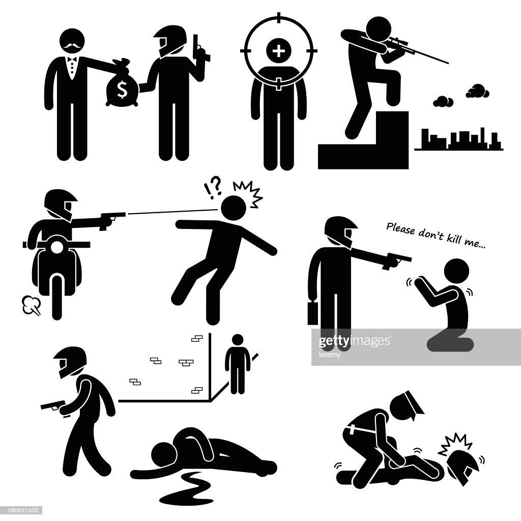 Assassination Hitman Killer Murder Gunman Stick Figure Pictogram Icons