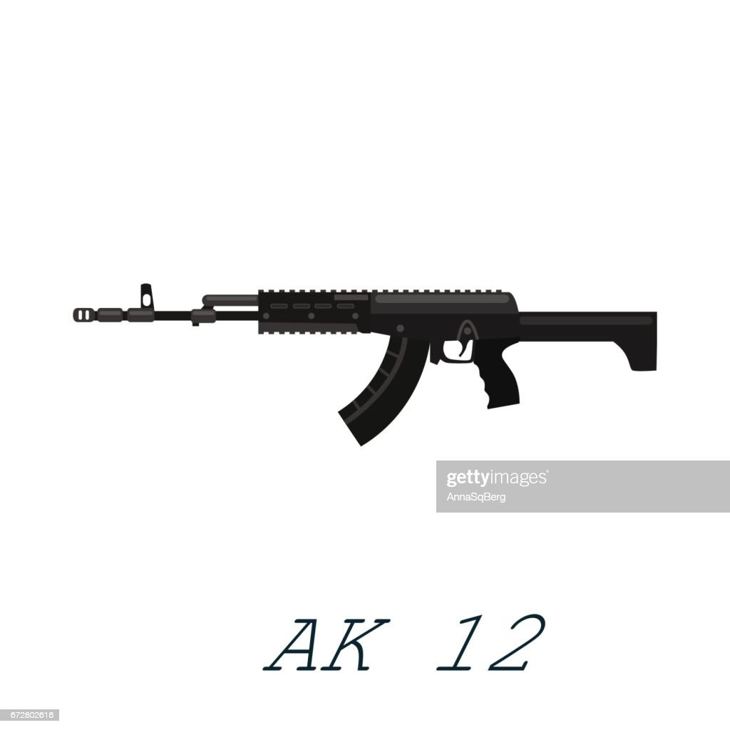 Assault automatic black rifle ak12, military gun on white background isolated vector illustration, weapon with bullets for protection shoting or war