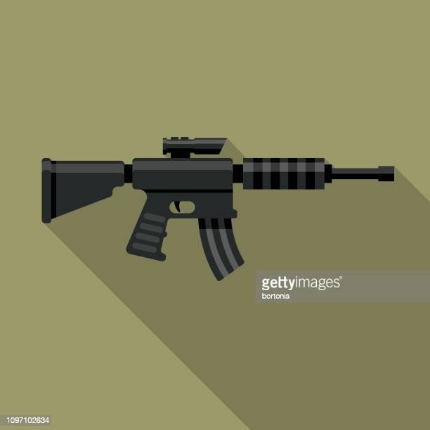 ilustrações de stock, clip art, desenhos animados e ícones de assault rifle military icon - metralhadora