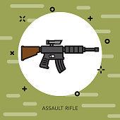 Assault Rifle Military Icon