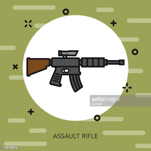assault rifle military icon - machine gun stock illustrations, clip art, cartoons, & icons