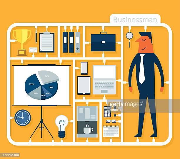 stockillustraties, clipart, cartoons en iconen met assemble businessman - model gefabriceerd object