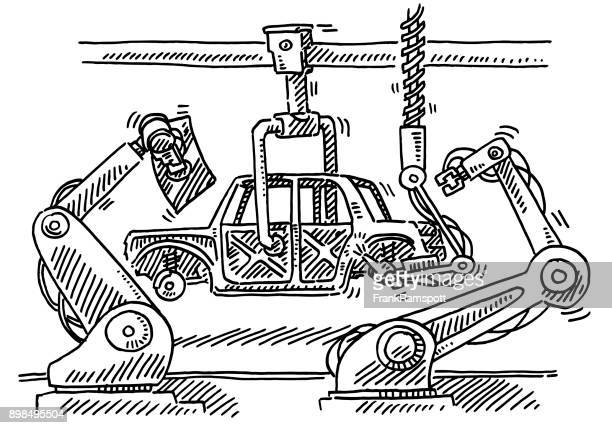 Assembly Line Robots Car Production Drawing
