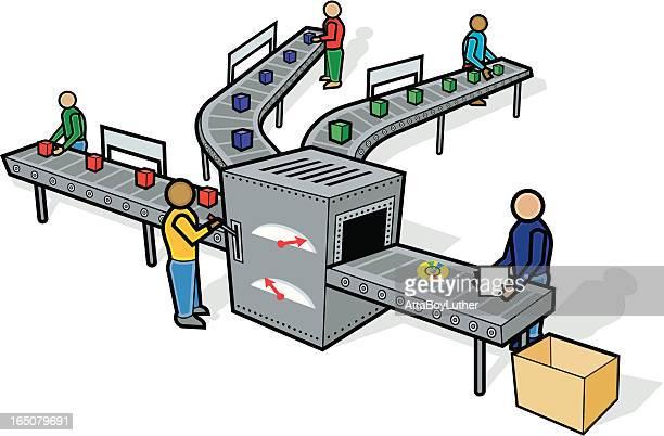 ilustraciones, imágenes clip art, dibujos animados e iconos de stock de línea de montaje - línea de producción