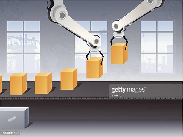アセンブリライン - 機械アーム点のイラスト素材/クリップアート素材/マンガ素材/アイコン素材