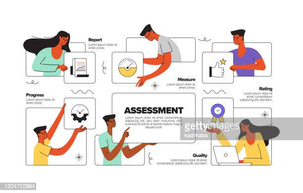 アセスメントコンセプトフラットラインイラスト(アイコン付き) - ホームページ点のイラスト素材/クリップアート素材/マンガ素材/アイコン素材