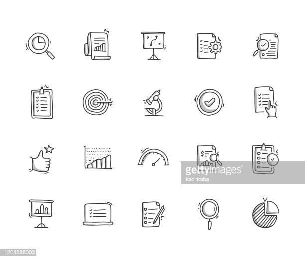 illustrations, cliparts, dessins animés et icônes de ensemble d'icônes de ligne de dessin de main d'évaluation - croquis