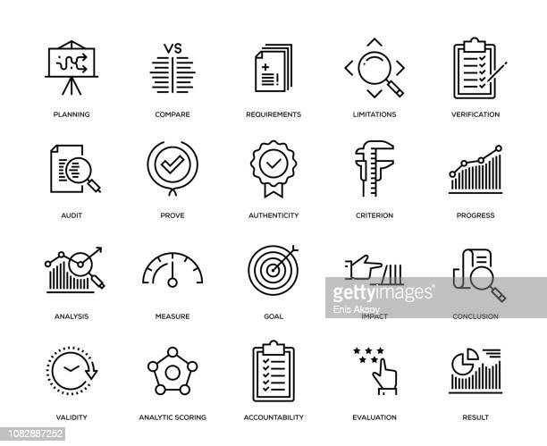 assessment icon set - scrutiny stock illustrations