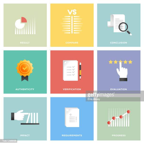 assessment icon set - instrument of measurement stock illustrations