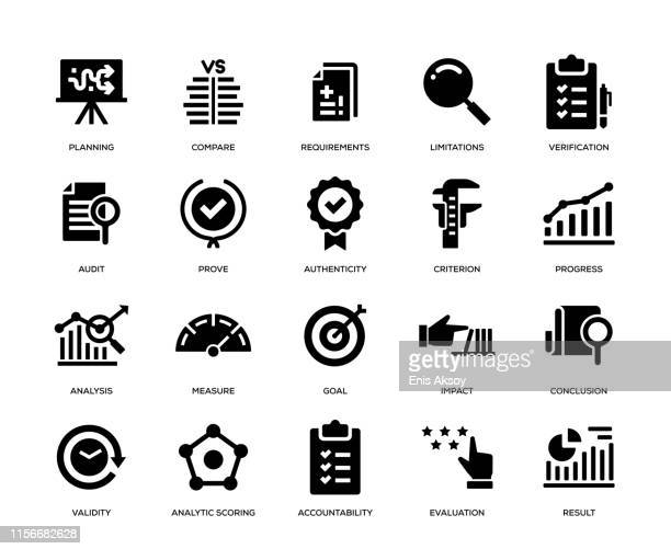 assessment icon set - solutions stock illustrations