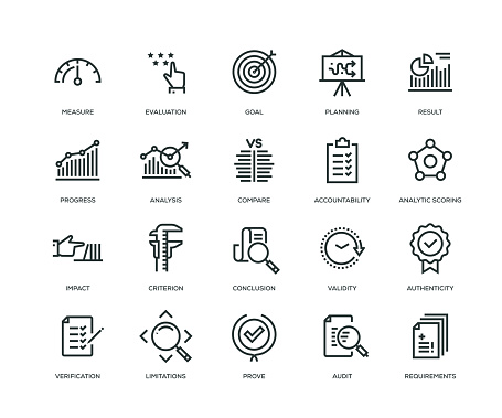 Assessment Icons - Line Series - gettyimageskorea