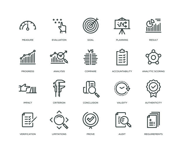 assessment icons - line series - vector stock illustrations