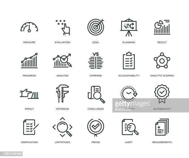 assessment icons - line series - icon set stock illustrations