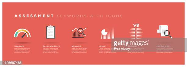 assessment keywords with icons - instrument of measurement stock illustrations