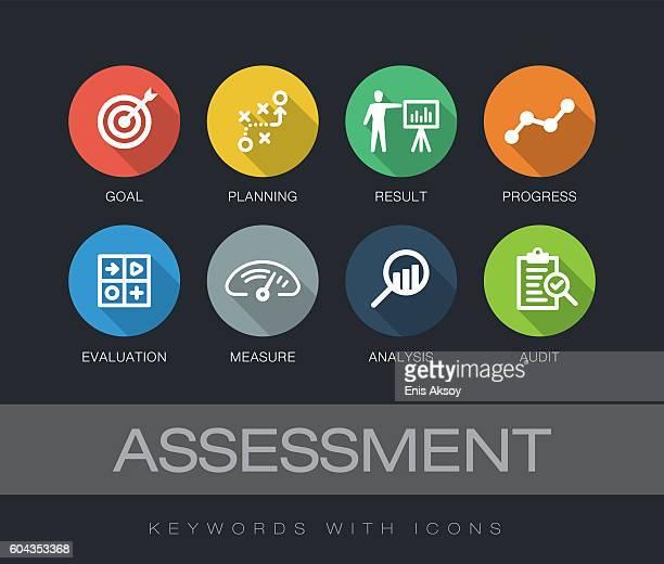 ilustrações, clipart, desenhos animados e ícones de assessment keywords with icons - examinando