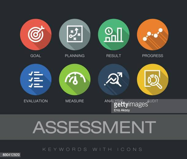 assessment keywords with icons - verification stock illustrations, clip art, cartoons, & icons