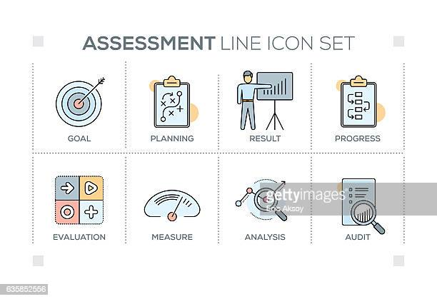 Assessment keywords with line icons
