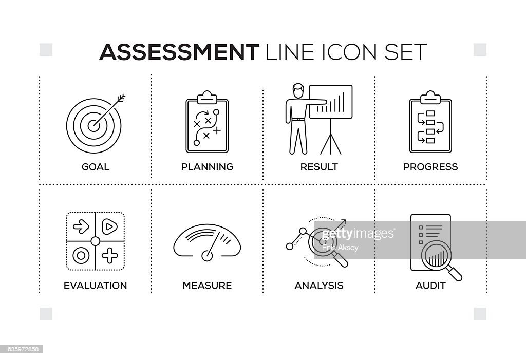Assessment keywords with monochrome line icons : stock illustration