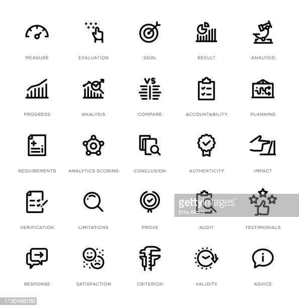 assessment line icon set - control stock illustrations