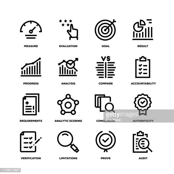 assessment line icons - solution stock illustrations