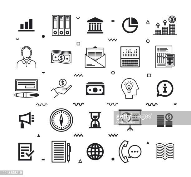 asset & wealth management line style vector icon set - holding up sign stock illustrations