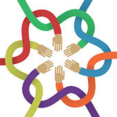 Association several intertwined multicolored hands flat style