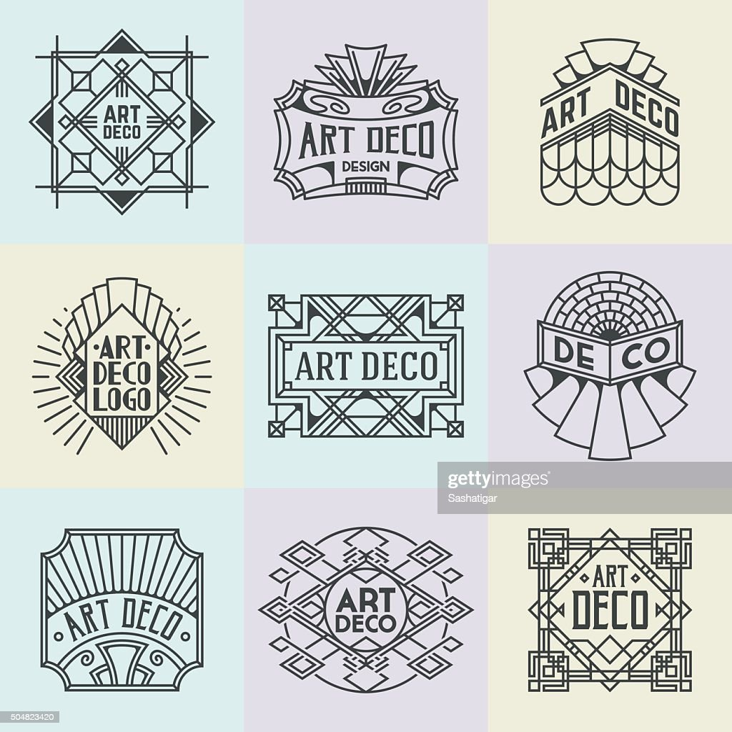 Assorted Art Deco Insignias Retro Design Logotypes Template Set.