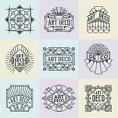 Assorted Art Deco Insignias Retro Design Logotypes Template Set.