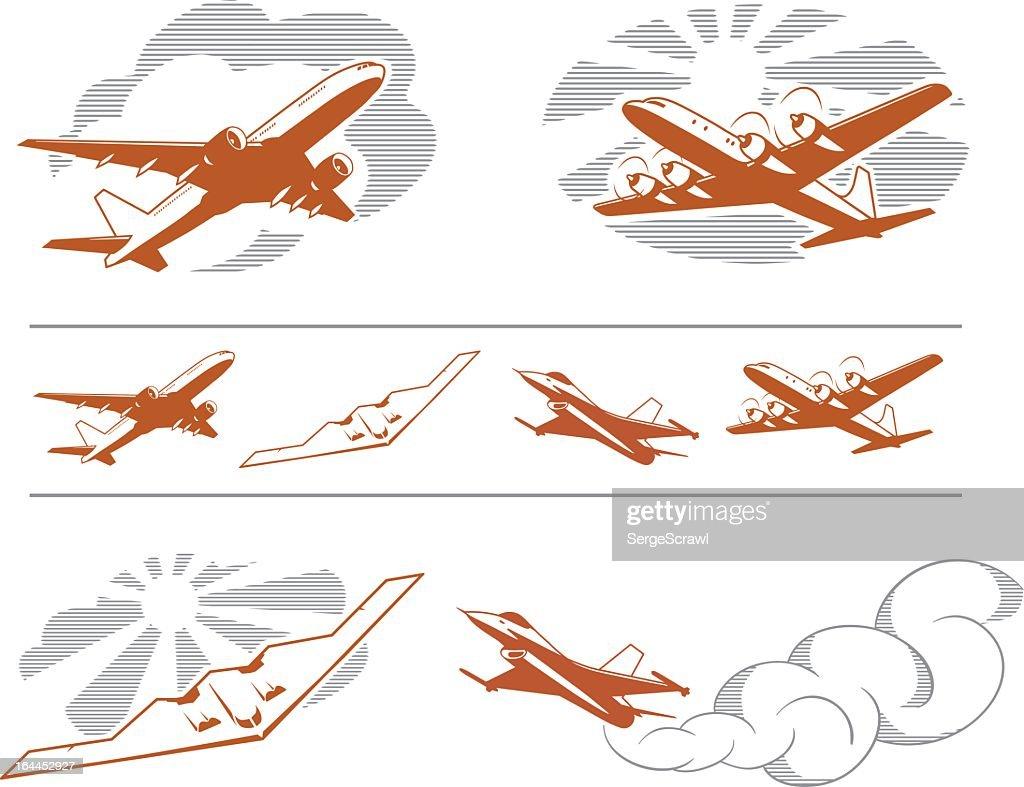 Assorted art of aircraft in flight