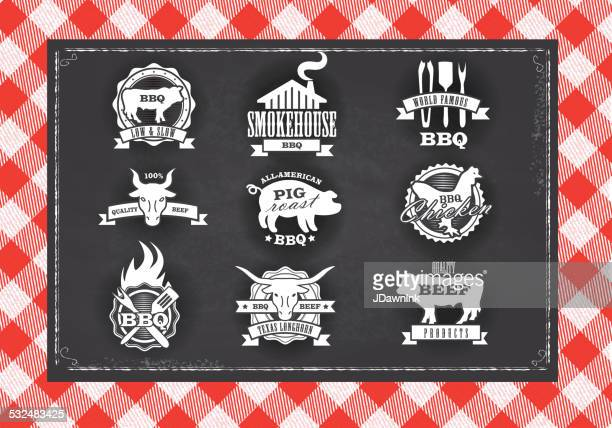 assorted barbecue, beef, chicken and pork, labels on chalkboard background - southern usa stock illustrations, clip art, cartoons, & icons