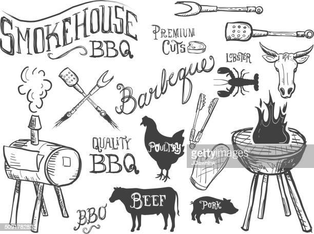 assorted barbecue, beef, chicken and pork, labels on white - southern usa stock illustrations, clip art, cartoons, & icons