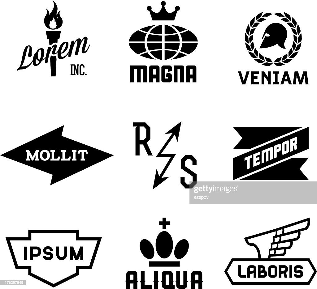 Assorted black and white vintage logos