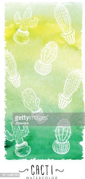 ilustrações, clipart, desenhos animados e ícones de cactus sortidos em potes com textura de fundo aquarela - cacto