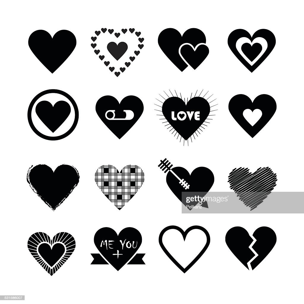 Assorted designs of black silhouette hearts icons set